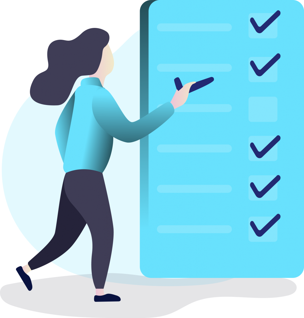 clip art of person checking off items on a checklist